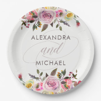 White Floral Fantasy   Modern Watercolor Wedding Paper Plate