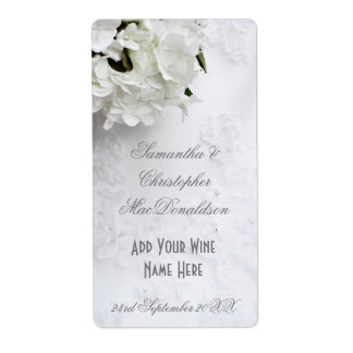 White floral flowers wedding wine bottle shipping label