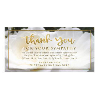 White Floral Golden Thank You Sympathy Card Picture Card