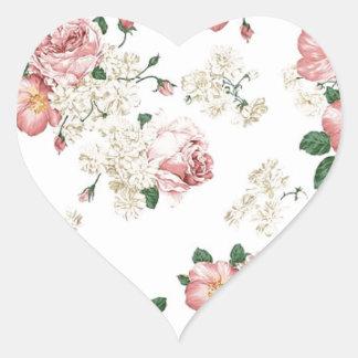 White Floral Heart Sticker