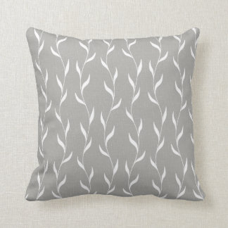 White Floral Leaves Botanical Pattern on Grey Cushion