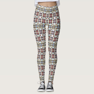 White Floral Leggings Women's Multicolor Whimsical