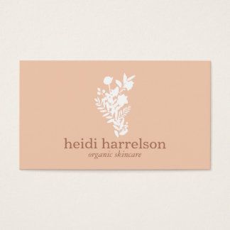 White Floral Logo on Peach Business Card