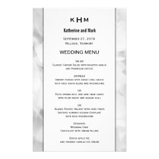 White Floral Monogrammed Custom Wedding Menu 14 Cm X 21.5 Cm Flyer