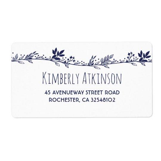 White Floral Navy Elegant Wedding Shipping Label
