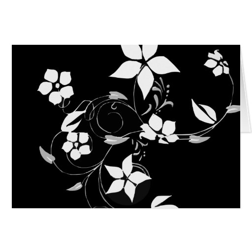 White Floral on Black Greeting Card