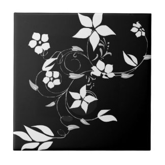 White Floral on Black Small Square Tile