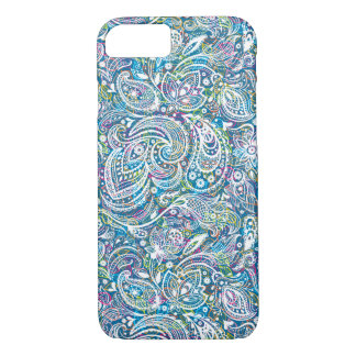 White Floral Paisley And Colorful Background iPhone 8/7 Case