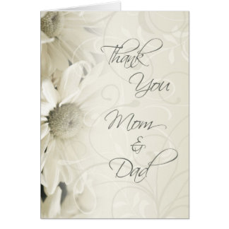 White Floral Parents  Wedding Day Thank You Card