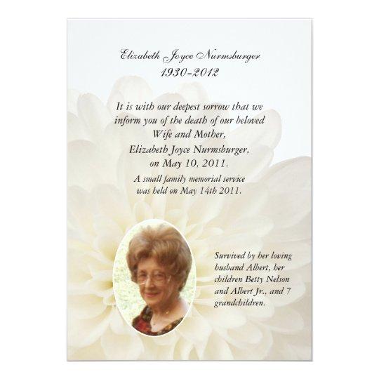 white floral photo death announcement card  zazzlecouk