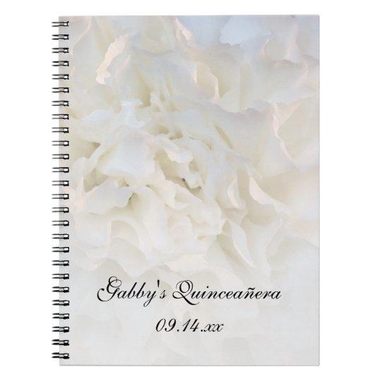 White Floral Quinceañera Guest Book