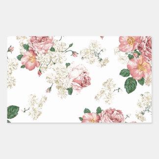White Floral Rectangular Sticker
