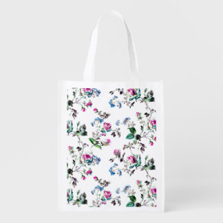 White Floral Reusable Shopping Bag