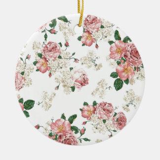 White Floral Round Ceramic Decoration