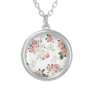 White Floral Round Pendant Necklace