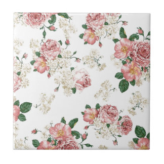 White Floral Small Square Tile