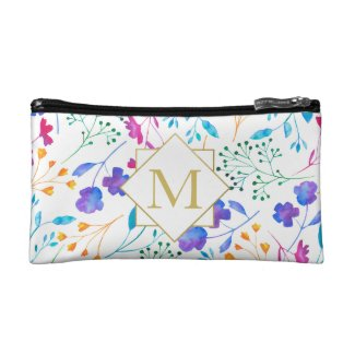 White Floral Sprig Colourful Pattern Cosmetics Bag
