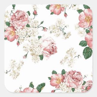 White Floral Square Sticker