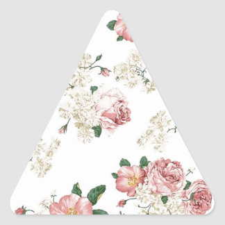 White Floral Triangle Sticker