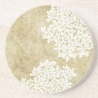 White Floral Vintage Beverage Coaster