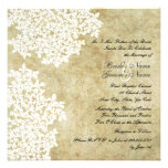 White Floral Vintage Square Wedding Invitations