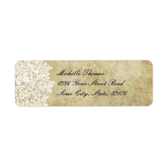 White Floral Vintage Wedding Address