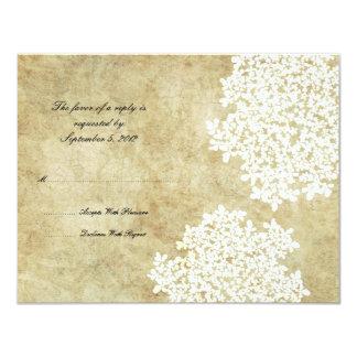 White Floral Vintage Wedding RSVP Card