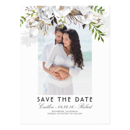 White Floral Watercolor Photo Save the Date Postcard