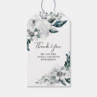 White Floral Watercolor Wedding Gift Tags