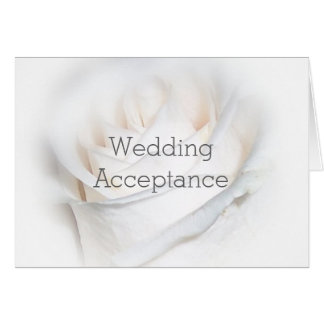 White Floral Wedding Acceptance Note Card