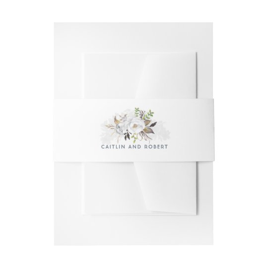 White Floral Wedding Invitation Belly Band