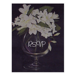 White Floral Wedding Invitation RSVP with Photo Postcard