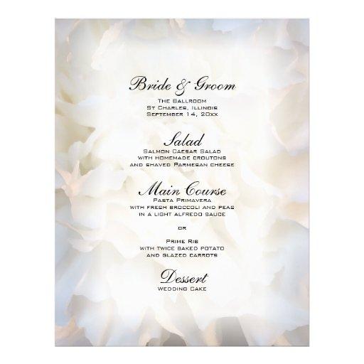 White Floral Wedding Menu Flyer Design