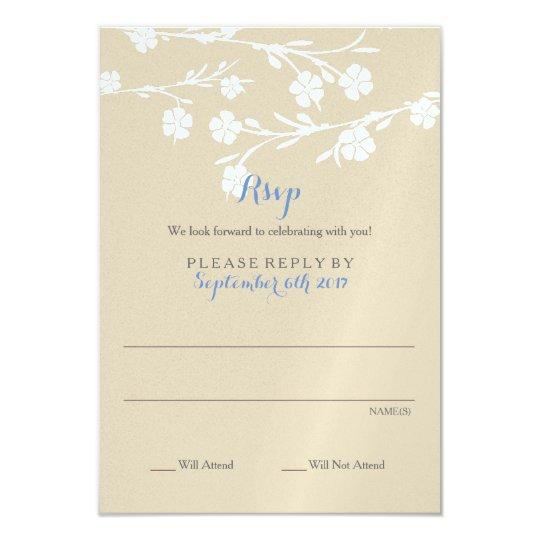 White Floral Wedding Rsvp Card