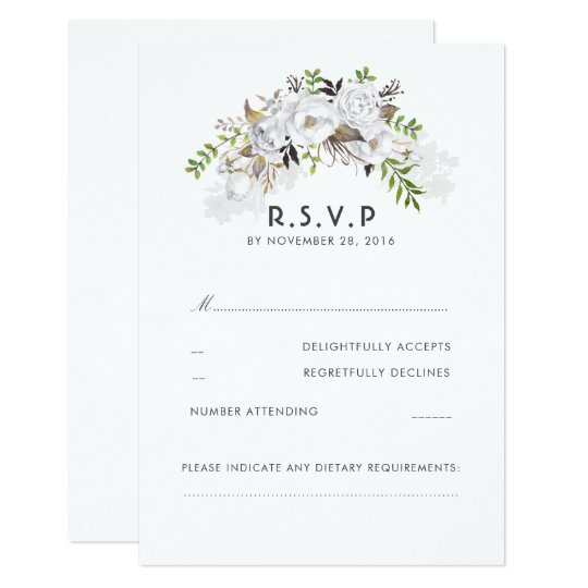 White Floral Wedding RSVP Card