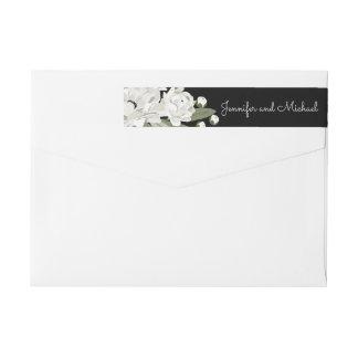 White Floral Wedding Sprigs return address Wrap Around Label