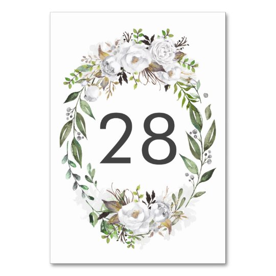 White Floral Wedding Table Number Cards