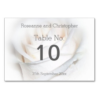 White Floral Wedding Table Setting Table Card