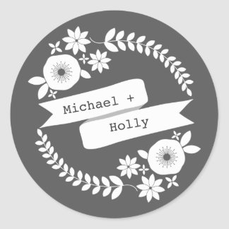 White Floral Wreath & Banner Sticker