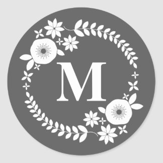 White Floral Wreath Monogram Sticker