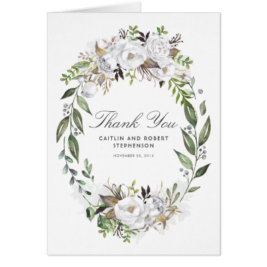 White Floral Wreath Wedding Thank You Card