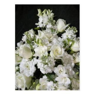 White Flower Bouquet Postcard