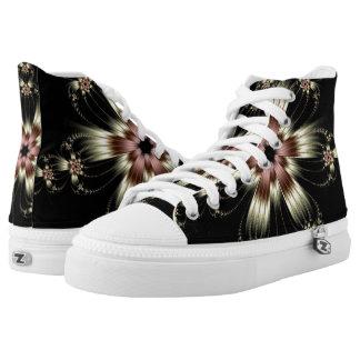 White Flower Burst Hi Top Printed Shoes