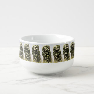 White Flower Cactus Soup Mug