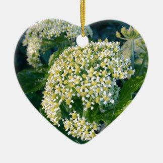 White flower ceramic heart decoration