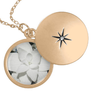 White Flower Charm Necklace