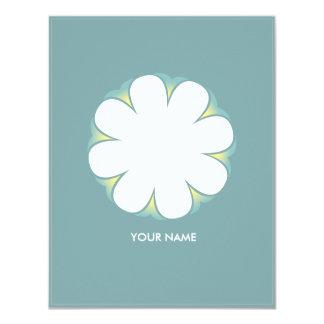 WHITE FLOWER COMPLIMENT CARD POOLBLUE 11 CM X 14 CM INVITATION CARD