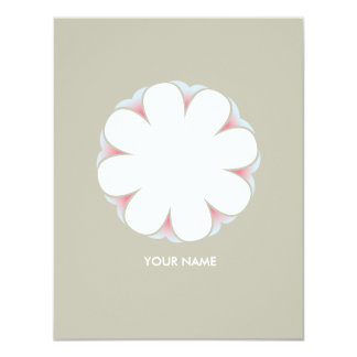 WHITE FLOWER COMPLIMENT CARD TAUPE INVITES