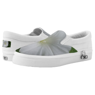 White Flower Custom Zipz Slip On Shoes,Men & Women