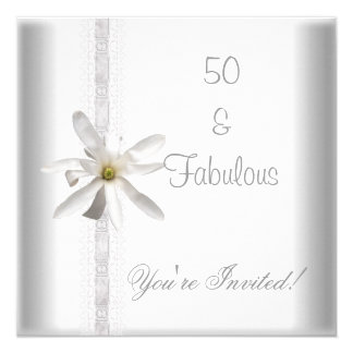 White Flower Fabulous 50th Birthday Party Lace 13 Cm X 13 Cm Square Invitation Card